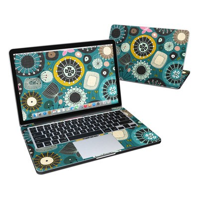 MacBook Pro Retina 13in Skin - Blooms Teal