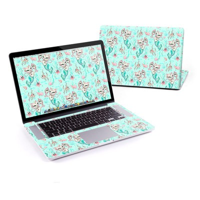 MacBook Pro Retina 13in Skin - Merkittens with Pearls Aqua