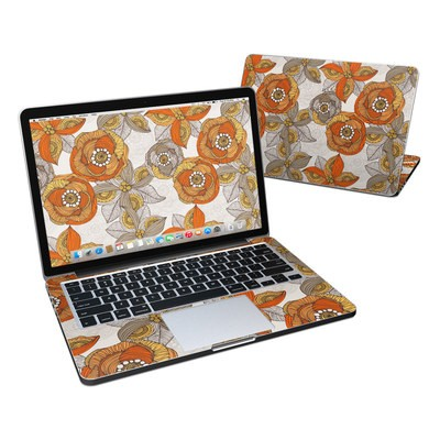 MacBook Pro Retina 13in Skin - Orange and Grey Flowers