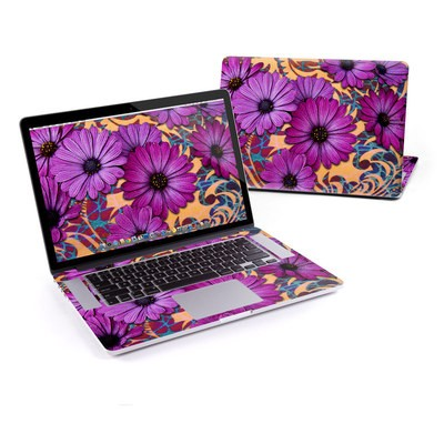 MacBook Pro Retina 13in Skin - Purple Daisy Damask