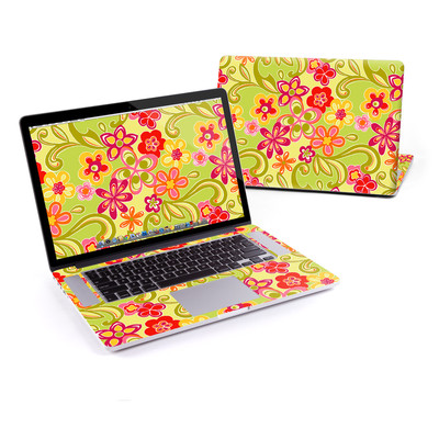 MacBook Pro Retina 15in Skin - Hippie Flowers Hot Pink