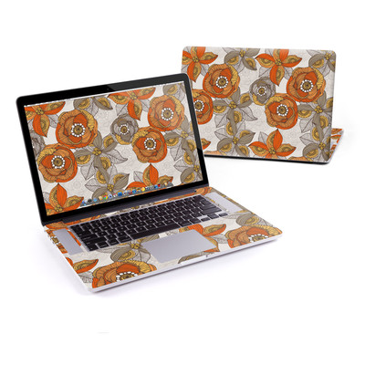 MacBook Pro Retina 15in Skin - Orange and Grey Flowers