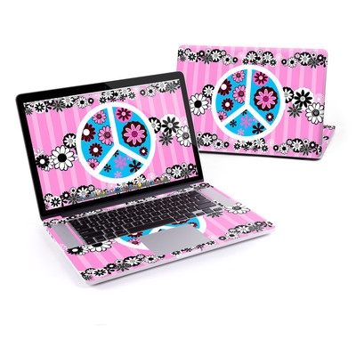 MacBook Pro Retina 15in Skin - Peace Flowers Pink