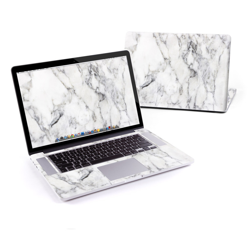 macbook pro retina 15in skin white marble by marble collection decalgirl. Black Bedroom Furniture Sets. Home Design Ideas