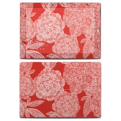 Microsoft Surface 3 Skin - Red Dahlias