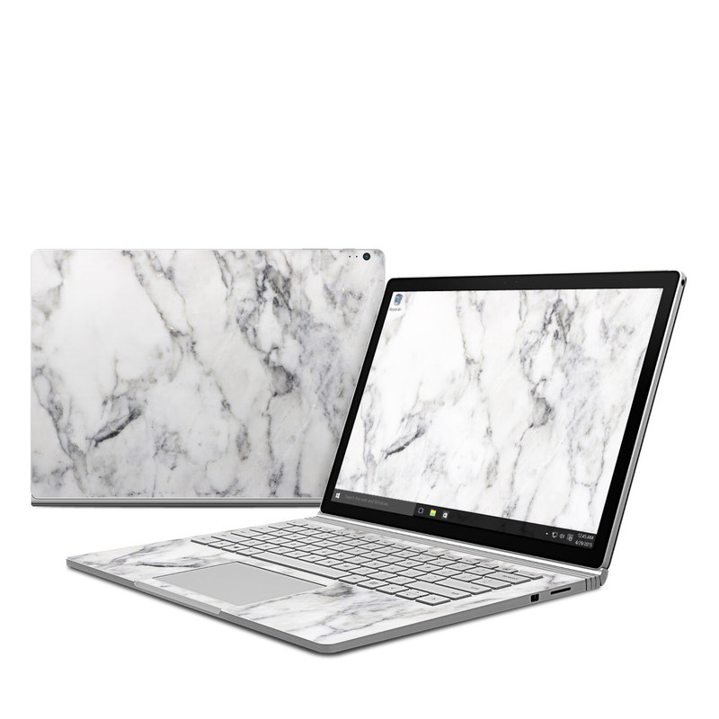 Microsoft Surface Book Skin White Marble By Marble