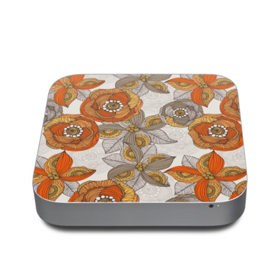 Mac Mini 2011 Skin - Orange and Grey Flowers