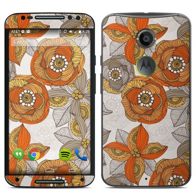 Motorola Moto X 2014 Skin - Orange and Grey Flowers