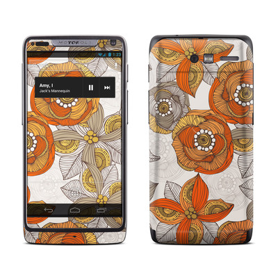 Motorola Razr M Skin - Orange and Grey Flowers