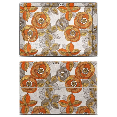Microsoft Surface Pro 3 Skin - Orange and Grey Flowers