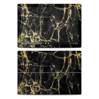 Microsoft Surface Pro 4 Skin - Black Gold Marble