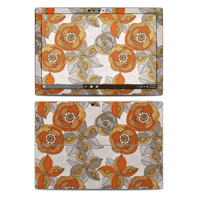 Microsoft Surface Pro 4 Skin - Orange and Grey Flowers
