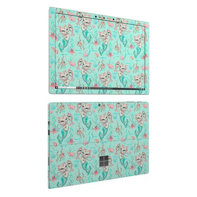 Microsoft Surface Pro 6 Skin - Merkittens with Pearls Aqua
