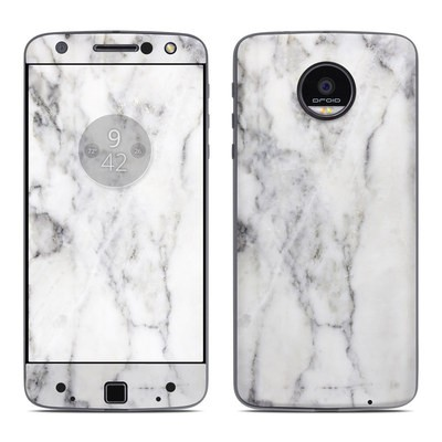 Moto Z Force Droid Skin - White Marble