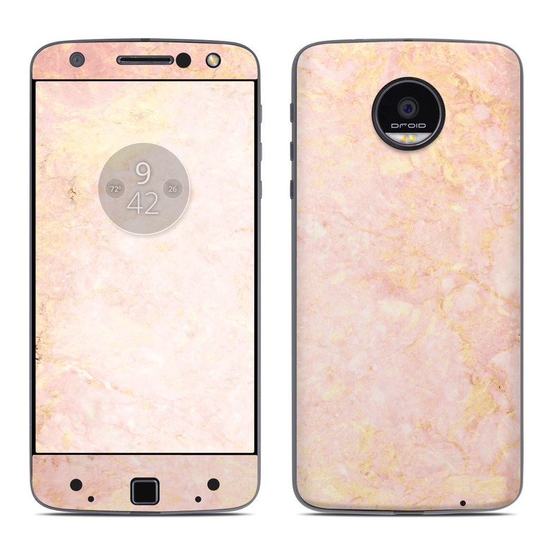 Moto Z Force Droid Skin - Rose Gold Marble