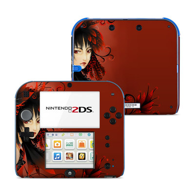 Nintendo 2DS Skin - Black Flower