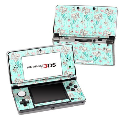 Nintendo 3DS Skin - Merkittens with Pearls Aqua