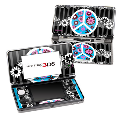 Nintendo 3DS Skin - Peace Flowers Black