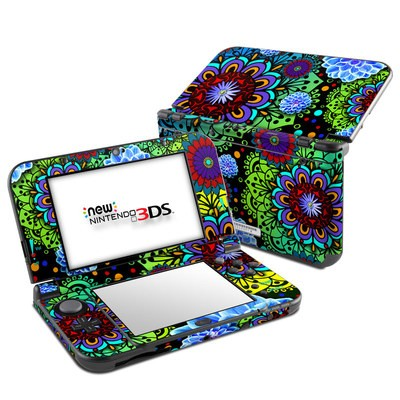 Nintendo 3DS LL Skin - Funky Floratopia