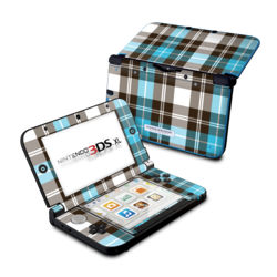 Nintendo 3DS XL Skin - Turquoise Plaid