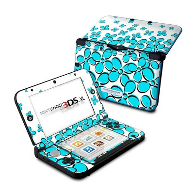 Nintendo 3DS XL Skin - Daisy Field - Teal