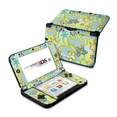 Nintendo 3DS XL Skin - Hippie Flowers Blue