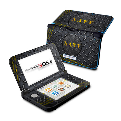 Nintendo 3DS XL Skin - Navy Diamond Plate