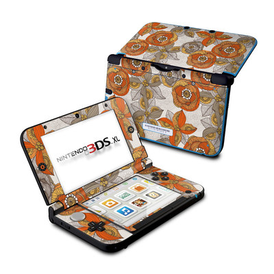 Nintendo 3DS XL Skin - Orange and Grey Flowers