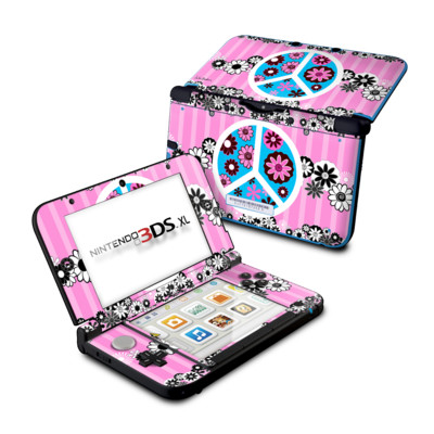 Nintendo 3DS XL Skin - Peace Flowers Pink