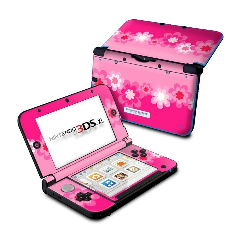 nintendo 3ds xl skin retro pink flowers decalgirl. Black Bedroom Furniture Sets. Home Design Ideas