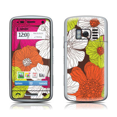 Nokia C6 Skin - Brown Flowers