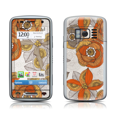 Nokia C6 Skin - Orange and Grey Flowers