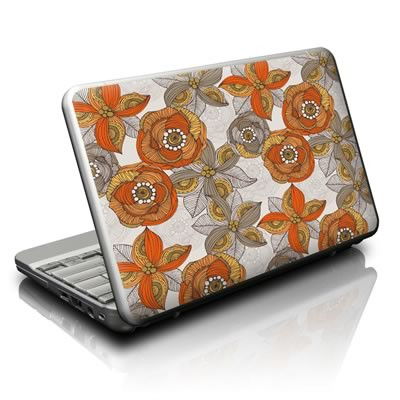 Netbook Skin - Orange and Grey Flowers