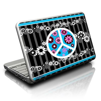 Netbook Skin - Peace Flowers Black