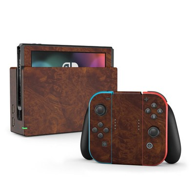 Nintendo Switch Skin - Dark Burlwood