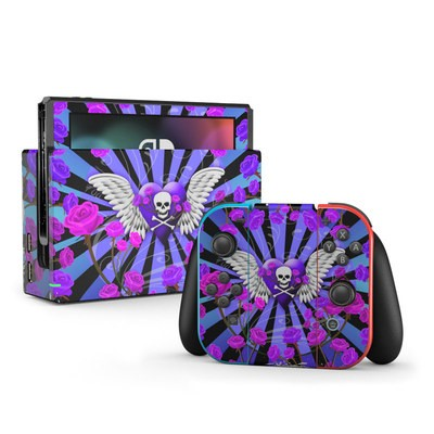 Nintendo Switch Skin - Skull & Roses Purple