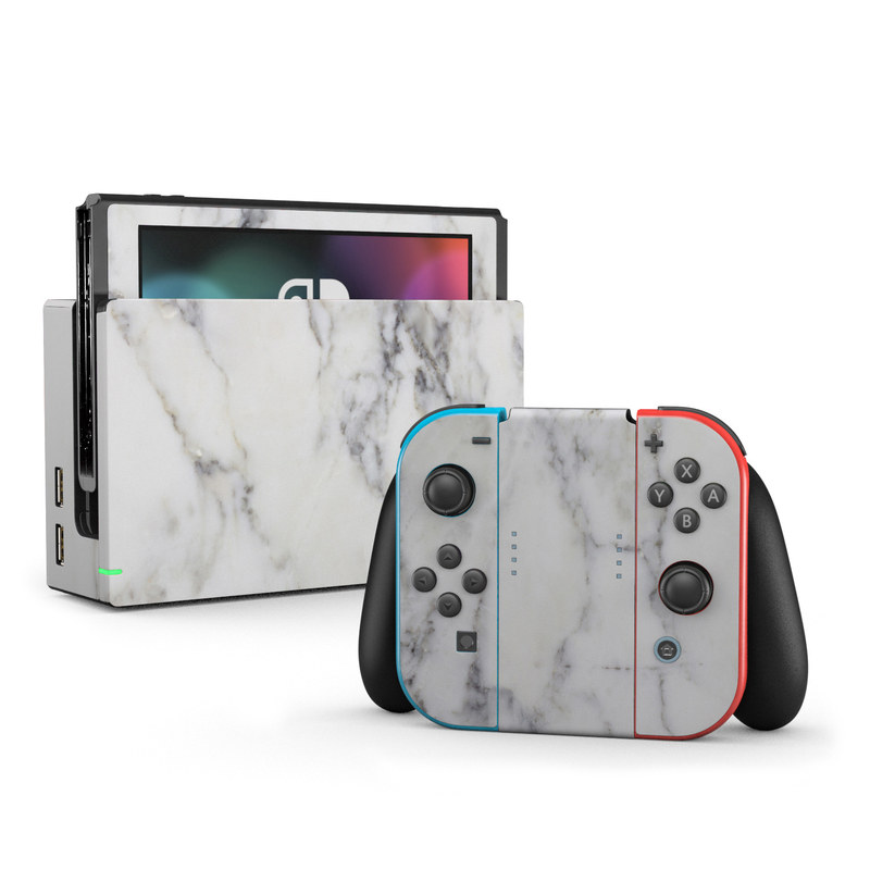 Nintendo Switch Skin White Marble By Marble Collection