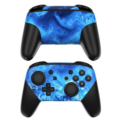 Nintendo Switch Pro Controller Skin - Blue Quantum Waves