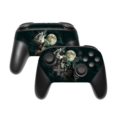 Nintendo Switch Pro Controller Skin - Three Wolf Moon