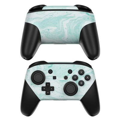 Nintendo Switch Pro Controller Skin - Winter Green Marble