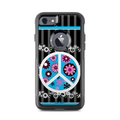 OtterBox Commuter iPhone 7 Case Skin - Peace Flowers Black