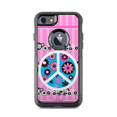 OtterBox Commuter iPhone 7 Case Skin - Peace Flowers Pink