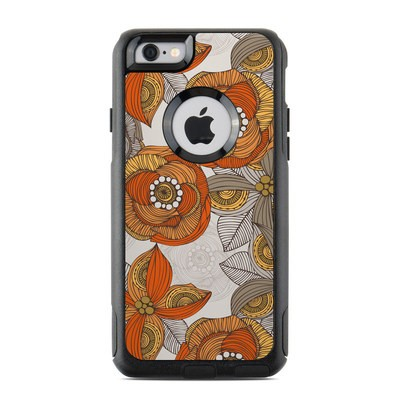 OtterBox Commuter iPhone 6 Case Skin - Orange and Grey Flowers