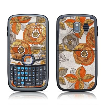 Pantech Link Skin - Orange and Grey Flowers