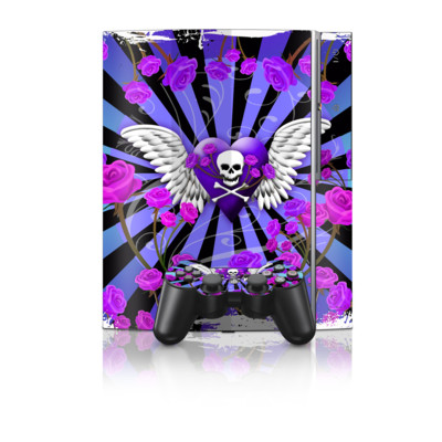 PS3 Skin - Skull & Roses Purple