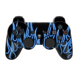 PS3 Controller Skin - Blue Neon Flames