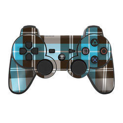 PS3 Controller Skin - Turquoise Plaid
