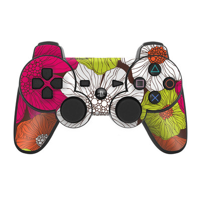 PS3 Controller Skin - Brown Flowers