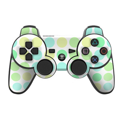 PS3 Controller Skin - Big Dots Mint