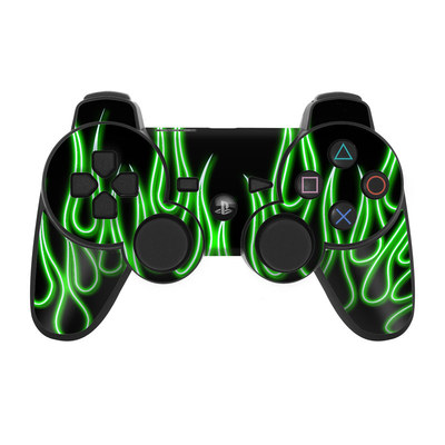PS3 Controller Skin - Green Neon Flames